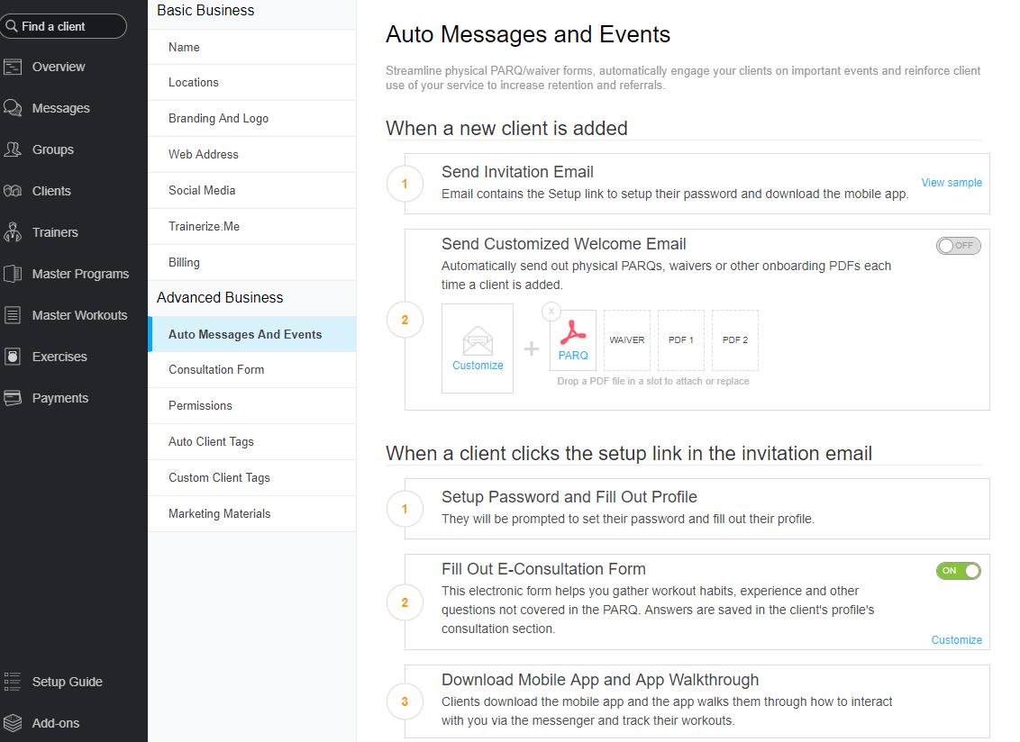 Trainerize automated communication