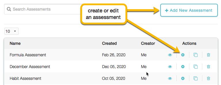 edit assessment