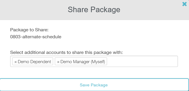 share package menu