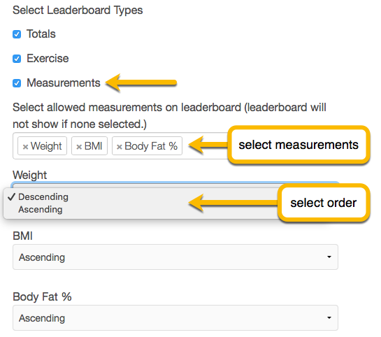 select measurements
