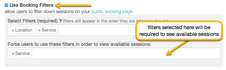 booking filters