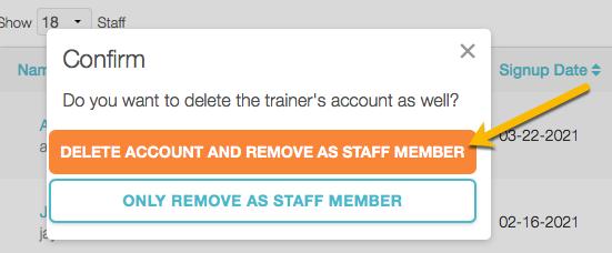 delete staff