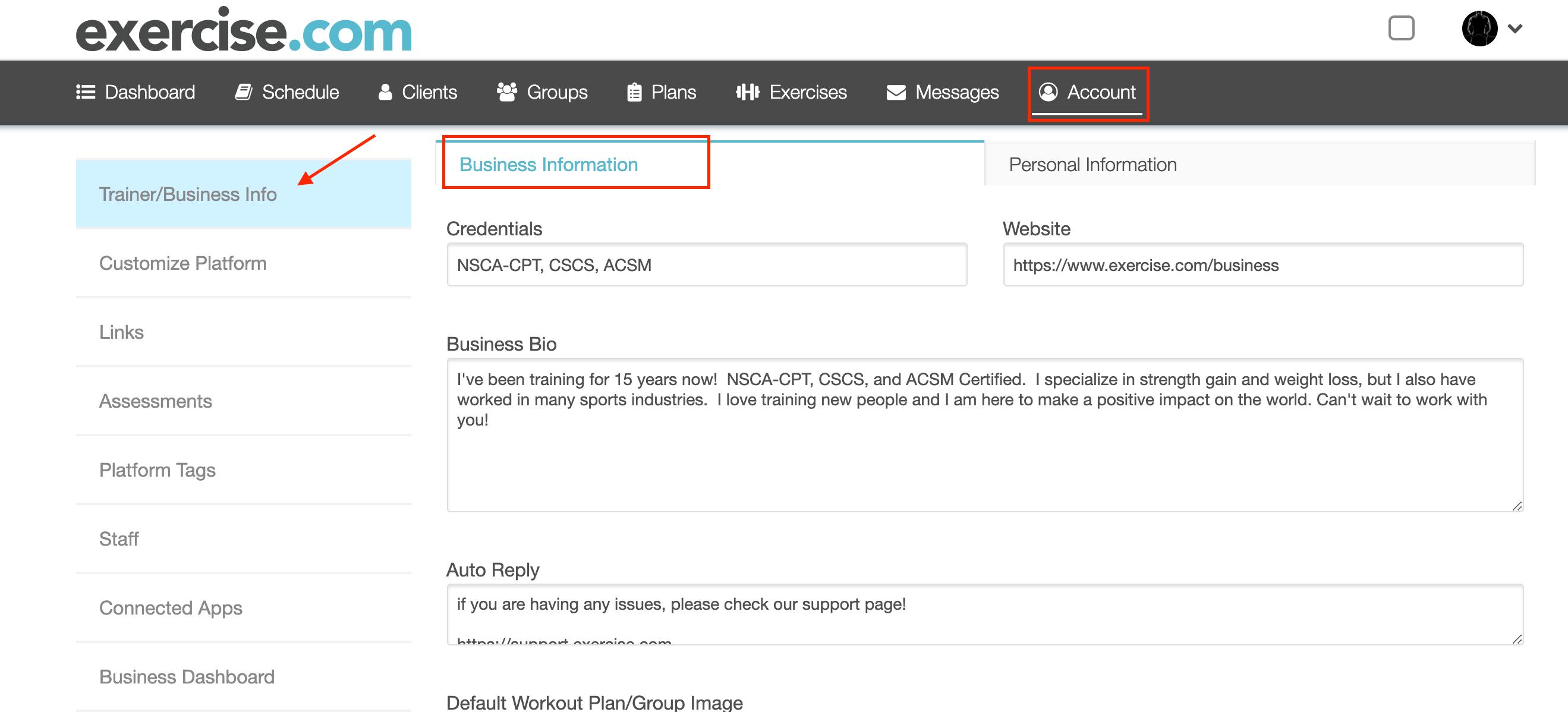 business accunt profile setup exercise.com