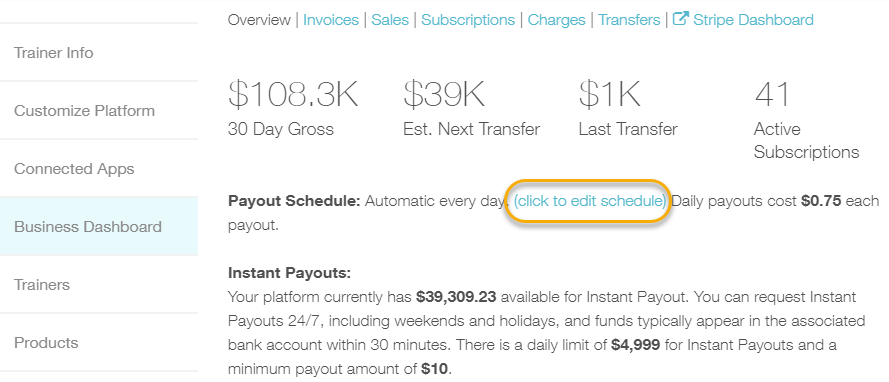 where to find the link to change your payout schedule