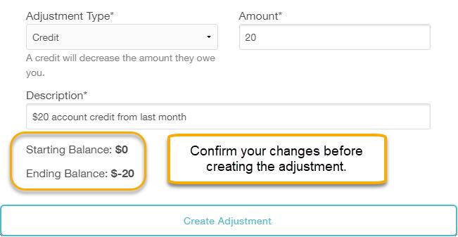 confirm adjustment